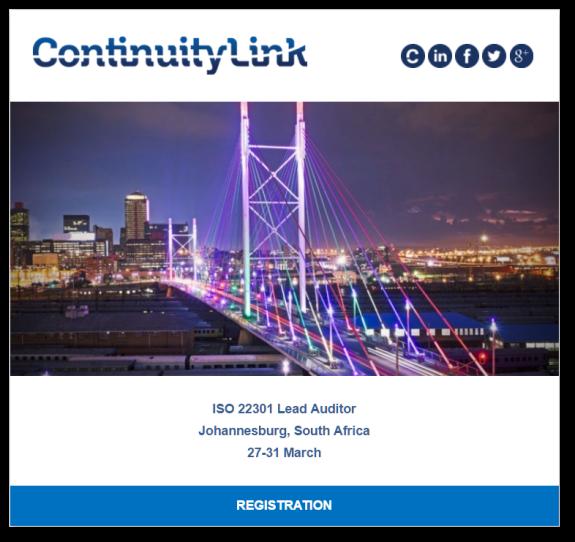 ISO 22301 LA in Johannesburg on 27-31 March Flyer