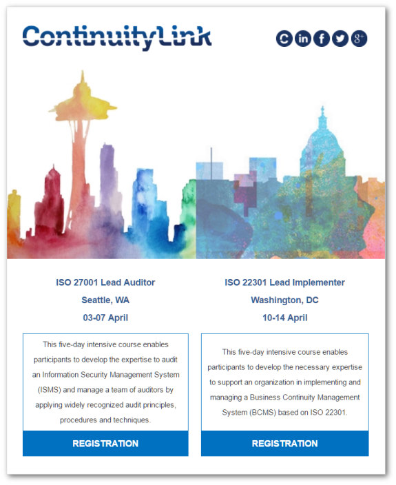 ISO training on the West Coast and the East Coast