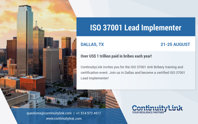 ISO 37001 LI in Dallas, TX on 21-25 August Flyer blue