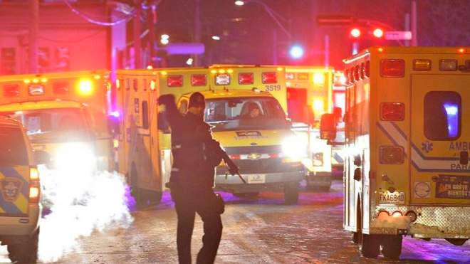 Police on the scene of the Quebec City mosque shooting