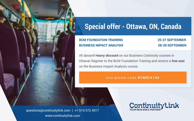 Special offer BCM training in Ottawa 2018-09