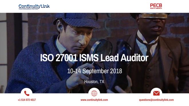 ISO 27001 Lead Auditor in Houston on 10-14 September - Social media flyer